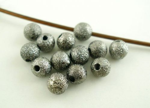"100 Gunmetal Sparkledust Ball Spacer Beads 4mm( 1/8"") Dia, Hole: Approx 1.1mm"